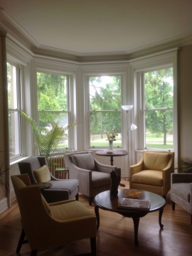 4 opaque stained wooden hung windows