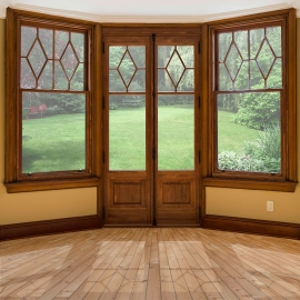 Balcony door and wooden windows with stain colour match up with interior trims