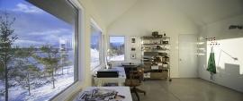 Fenêtres de PVC d'une maison contemporaine - vue du bureau