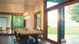 Lift and slide wooden patio doors with exterior aluminum cladding