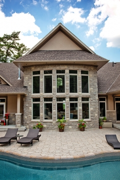 10 PVC casement windows with transoms - exterior view