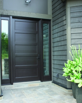 Contemporary style wooden door with 5 equal decorative flat panels and 2 sidelites