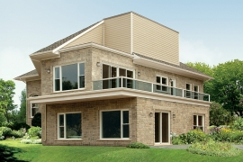 PVC patio doors and PVC windows on contemprary home